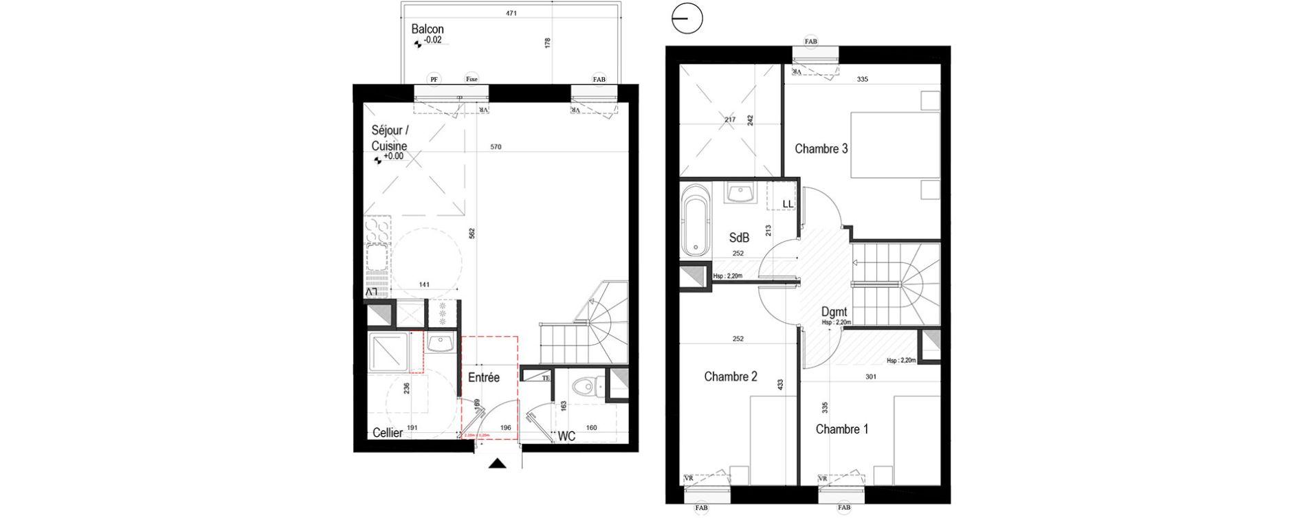 Duplex T4 de 77,86 m2 à Lille Lille sud