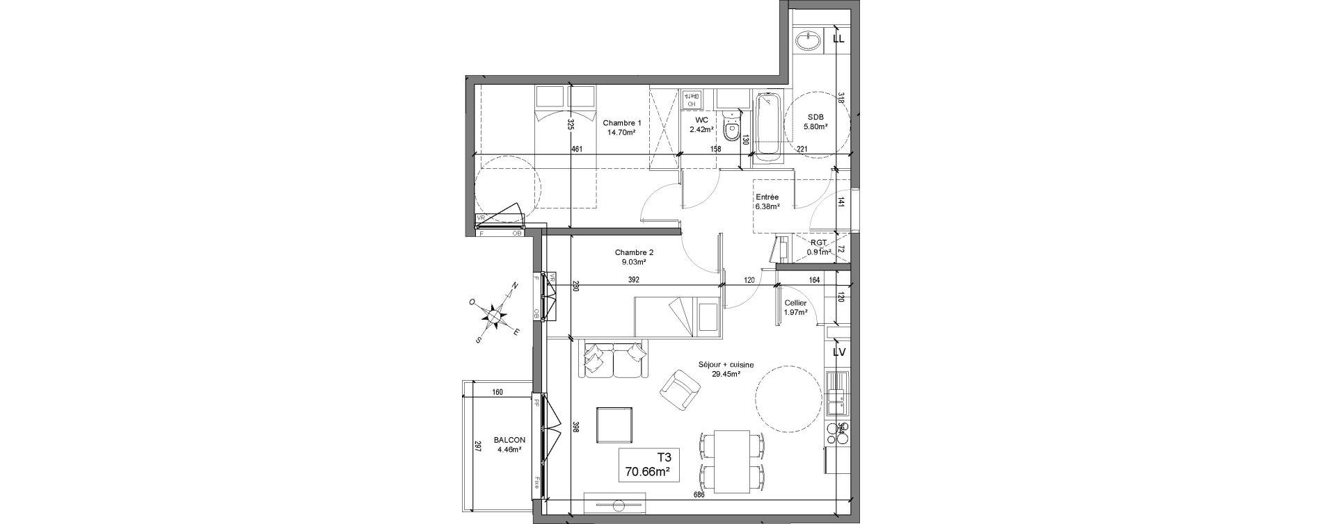 Appartement T3 de 70,66 m2 à Linselles Centre