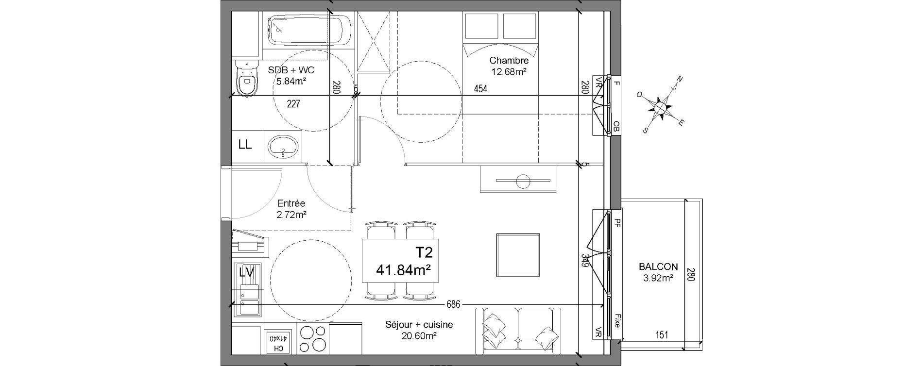 Appartement T2 de 41,84 m2 à Linselles Centre