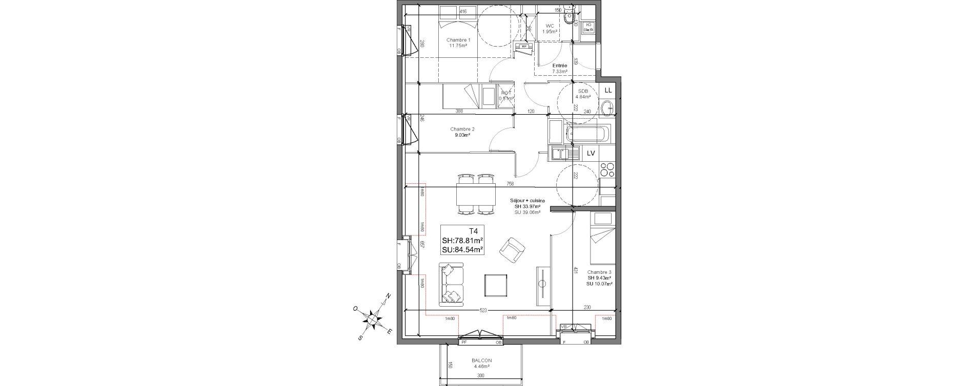 Appartement T4 de 78,41 m2 à Linselles Centre