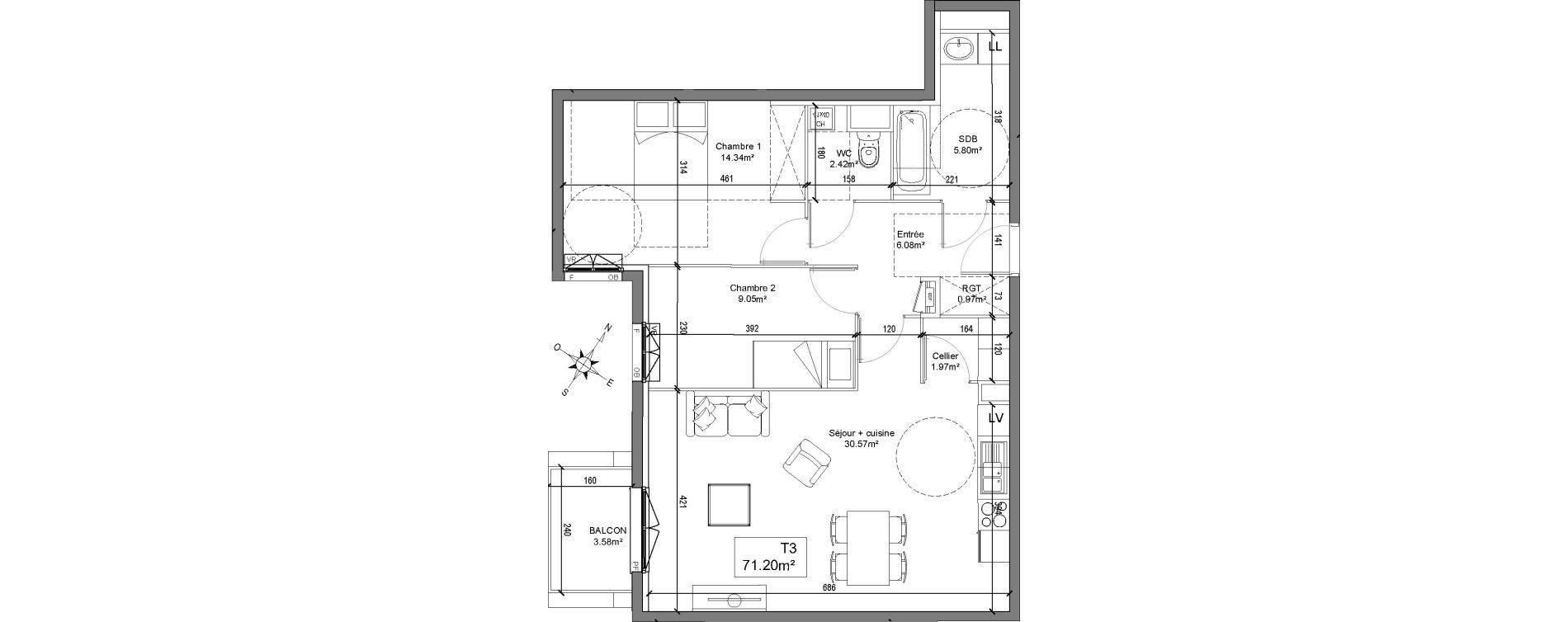 Appartement T3 de 71,20 m2 à Linselles Centre