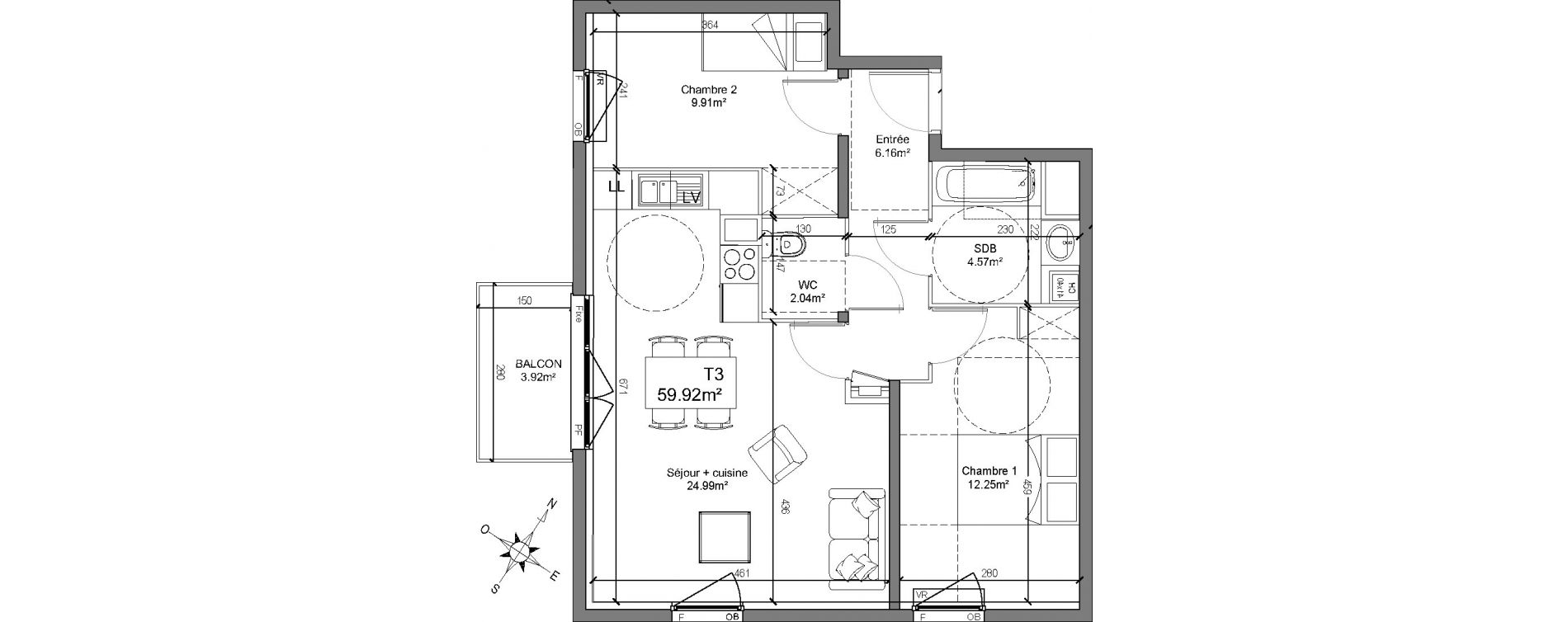 Appartement T3 de 59,92 m2 à Linselles Centre