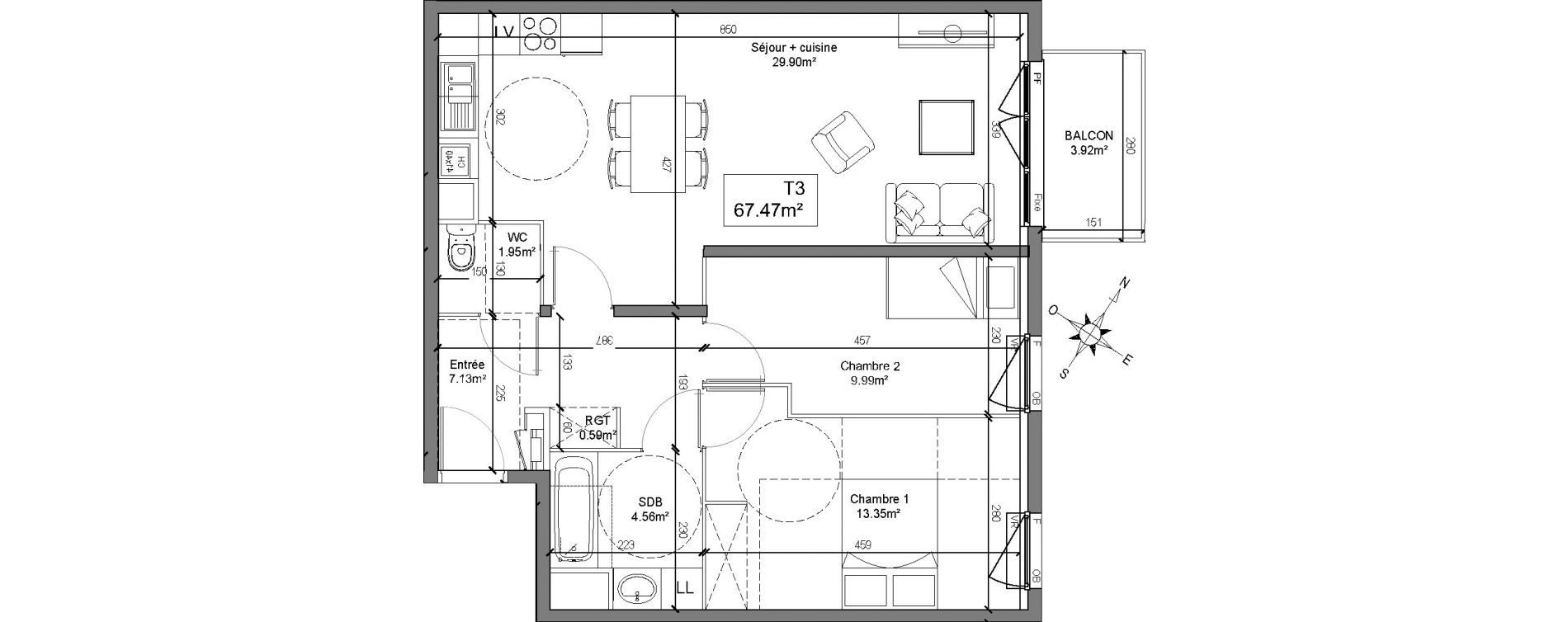 Appartement T3 de 67,47 m2 à Linselles Centre
