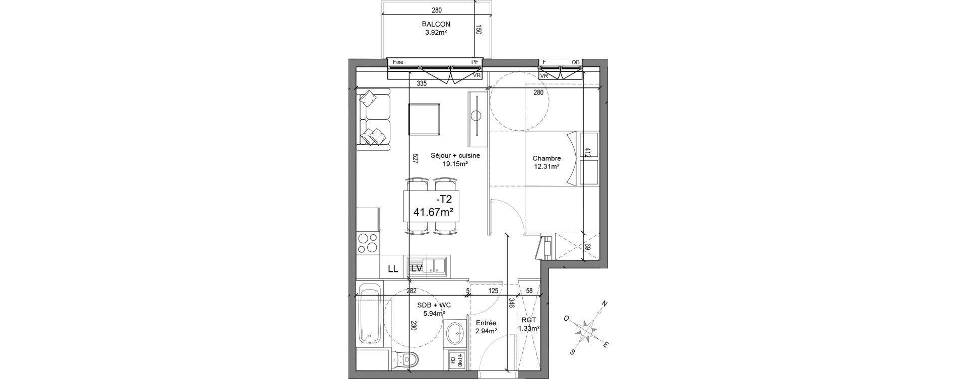 Appartement T2 de 41,67 m2 à Linselles Centre
