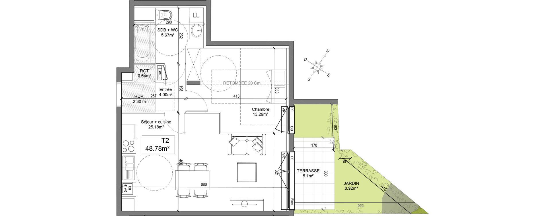 Appartement T2 de 48,78 m2 à Linselles Centre