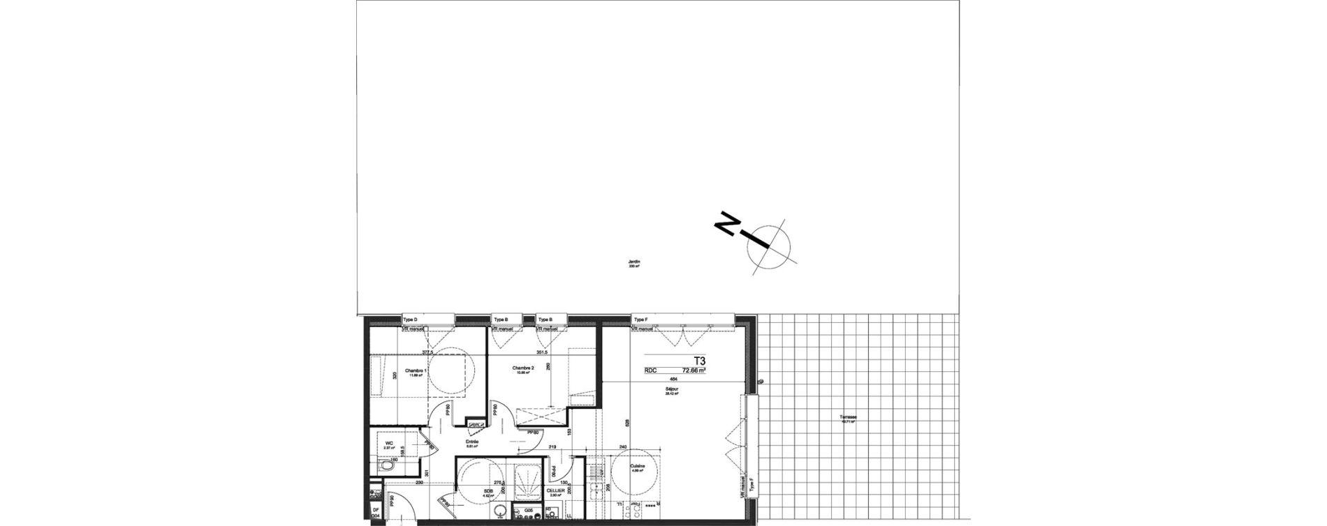 Appartement T3 de 72,66 m2 à Linselles Centre