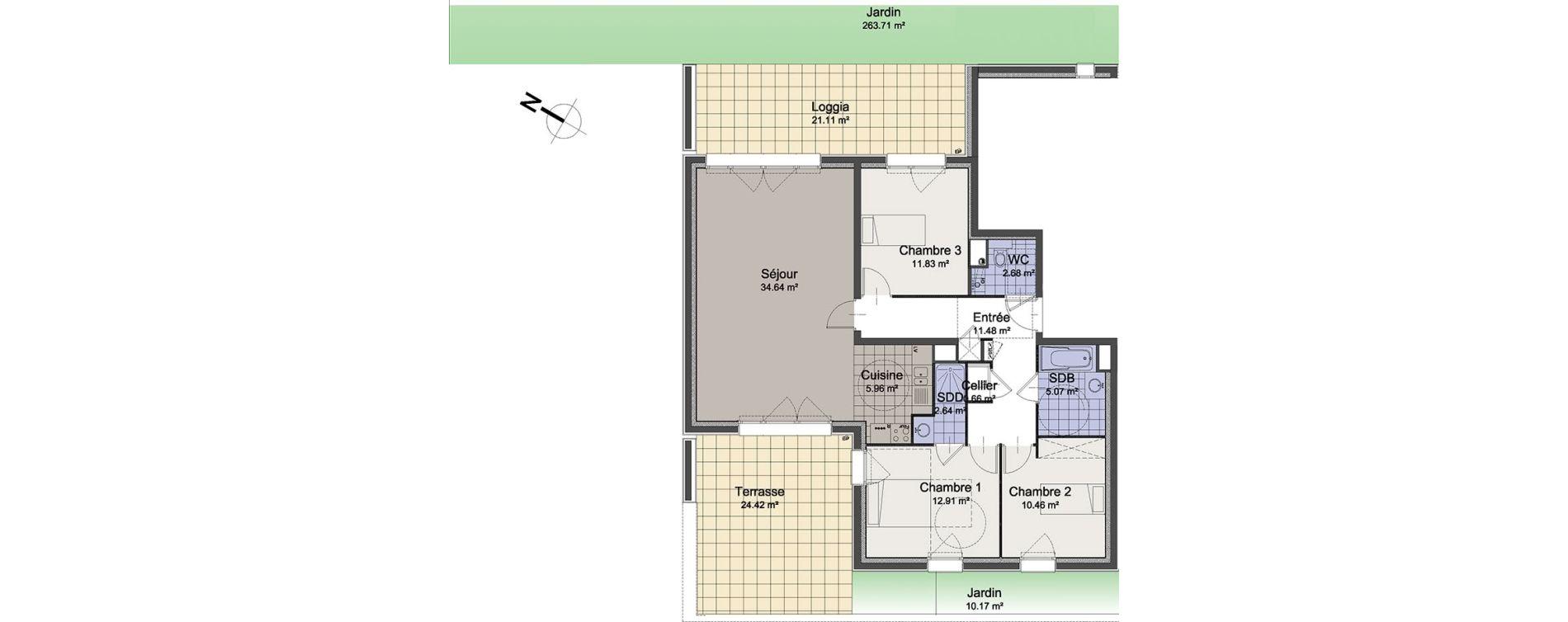 Appartement T4 de 98,33 m2 à Linselles Centre