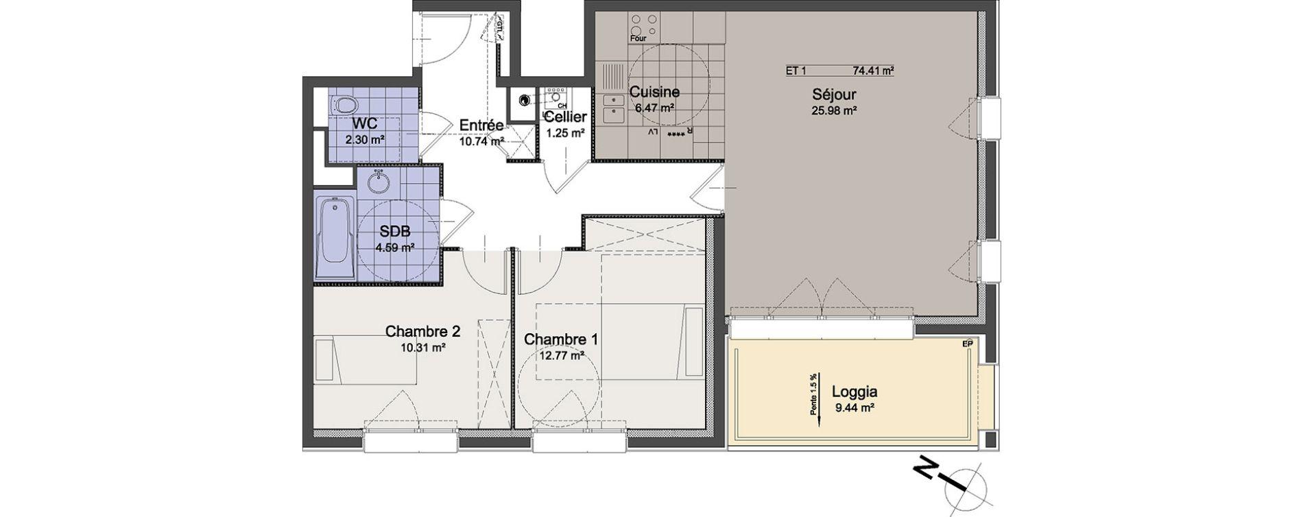 Appartement T3 de 74,41 m2 à Linselles Centre