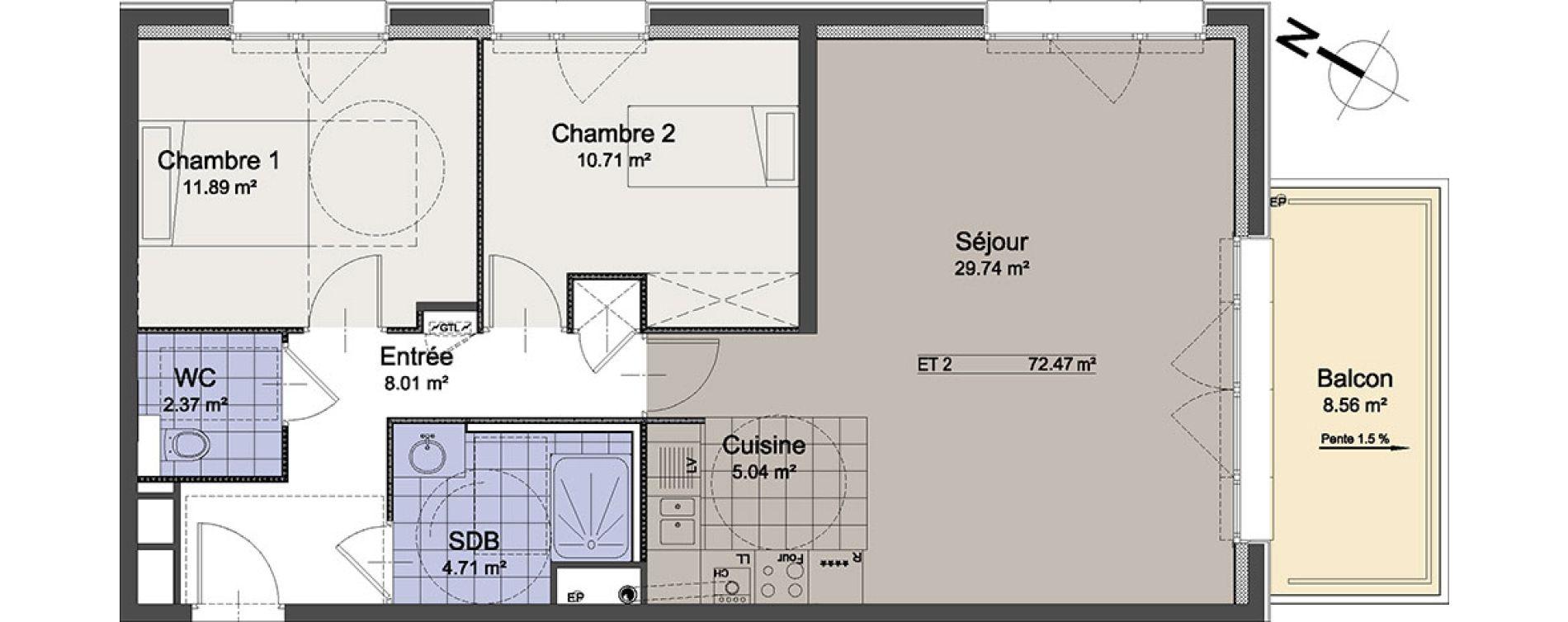 Appartement T3 de 72,47 m2 à Linselles Centre
