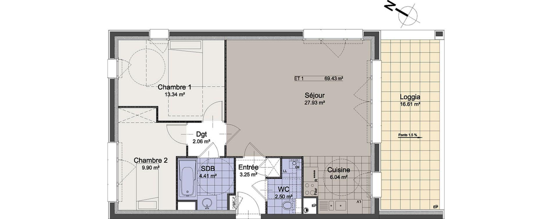 Appartement T3 de 69,43 m2 à Linselles Centre