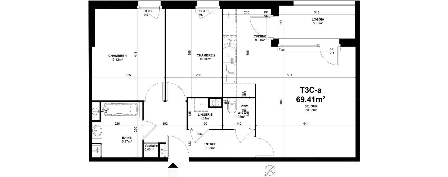 Appartement T3 de 69,41 m2 à Linselles Centre