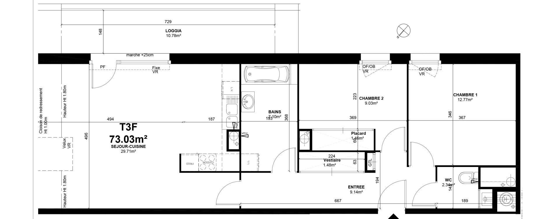Appartement T3 de 73,03 m2 à Linselles Centre