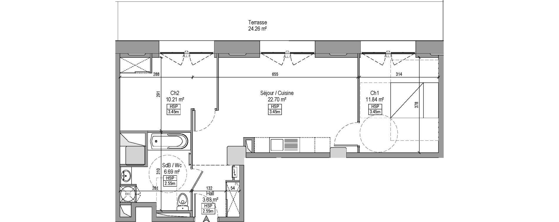 Appartement T3 de 55,07 m2 à Marquette-Lez-Lille Centre