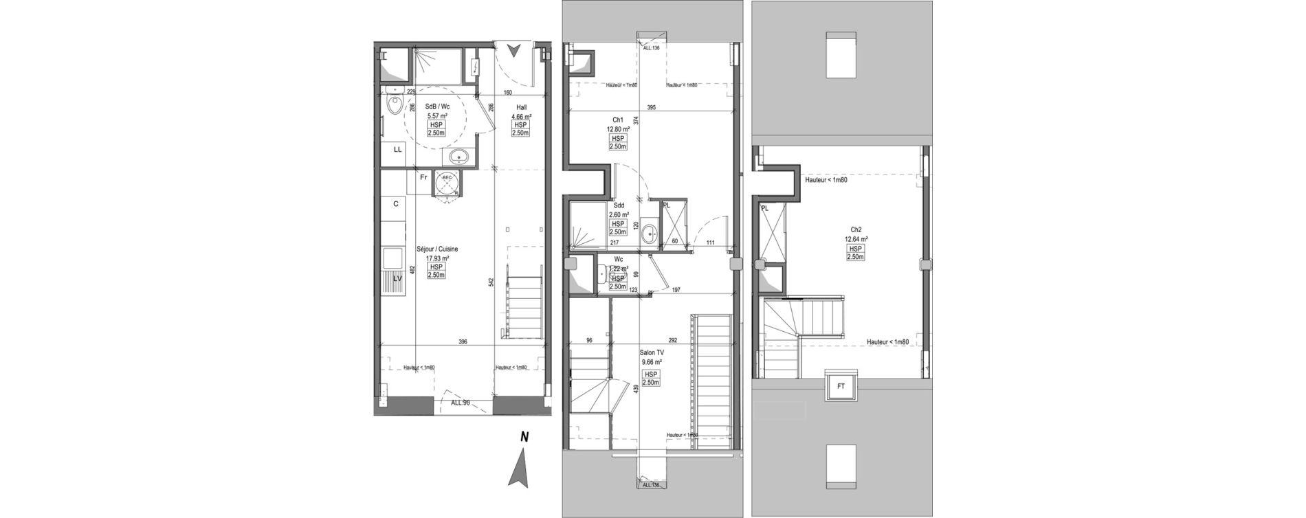 Triplex T3 bis de 65,85 m2 à Marquette-Lez-Lille Centre