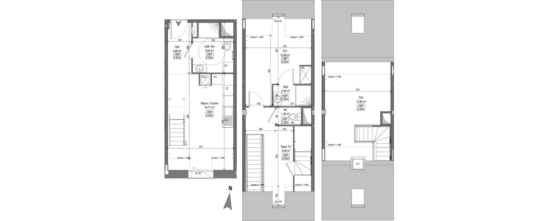 Triplex T3 bis de 63,42 m2 à Marquette-Lez-Lille Centre