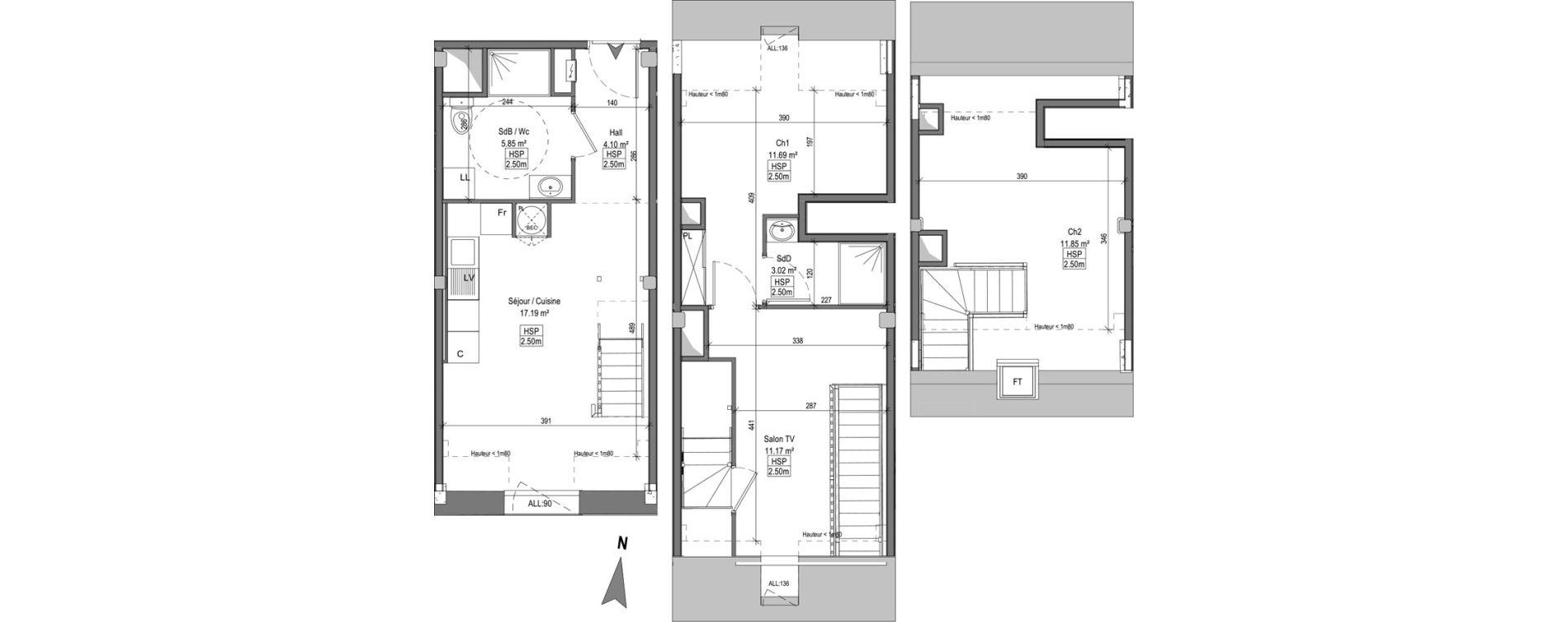 Triplex T3 bis de 63,94 m2 à Marquette-Lez-Lille Centre