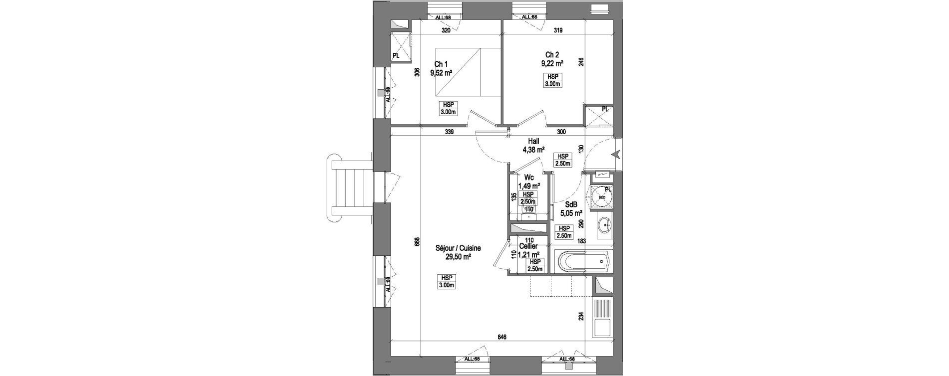 Appartement T3 de 60,37 m2 à Marquette-Lez-Lille Centre