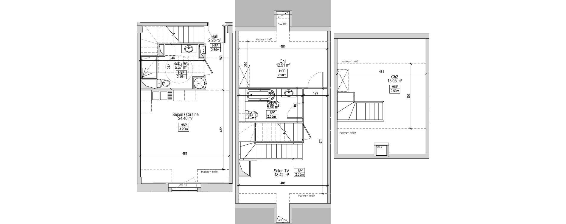 Triplex T3 bis de 87,80 m2 à Marquette-Lez-Lille Centre