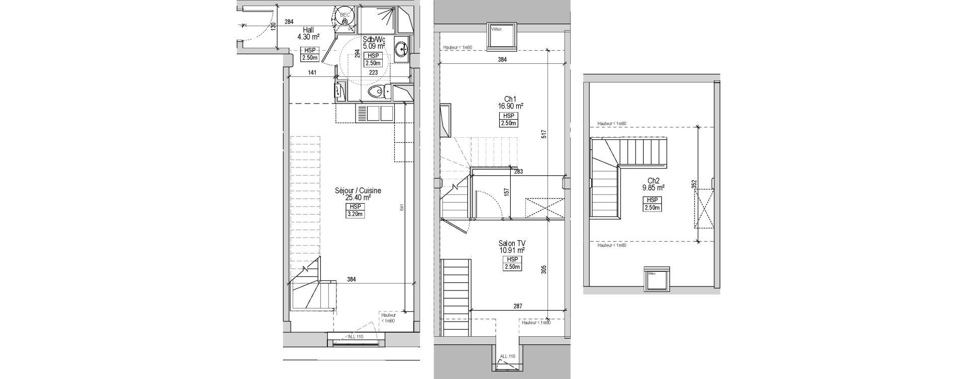 Triplex T3 bis de 81,10 m2 à Marquette-Lez-Lille Centre