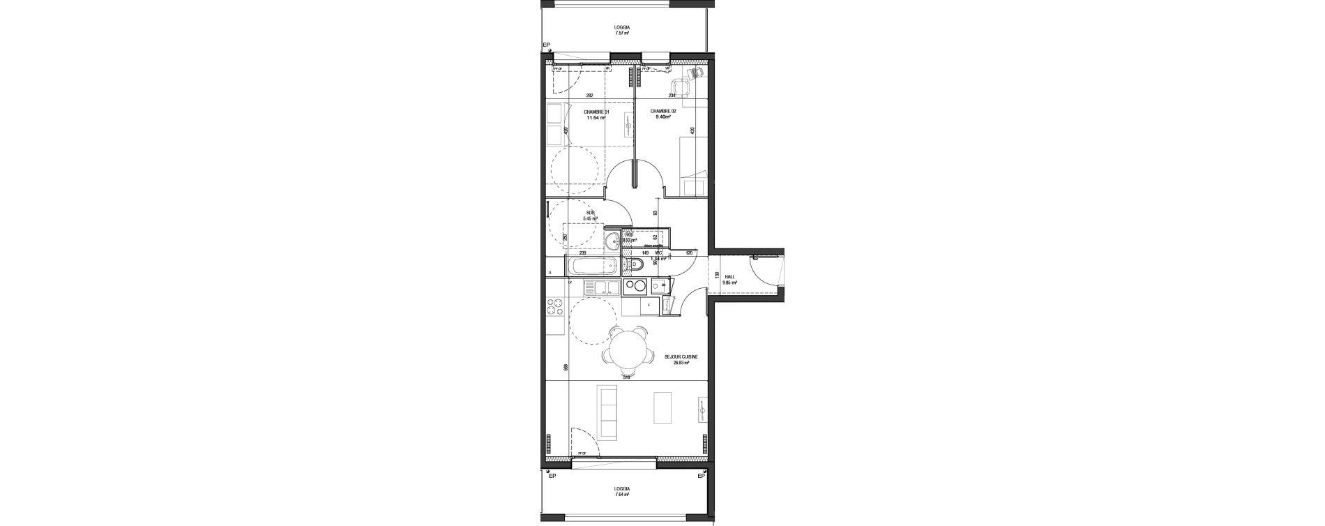 Appartement T3 de 65,34 m2 à Marquette-Lez-Lille Centre