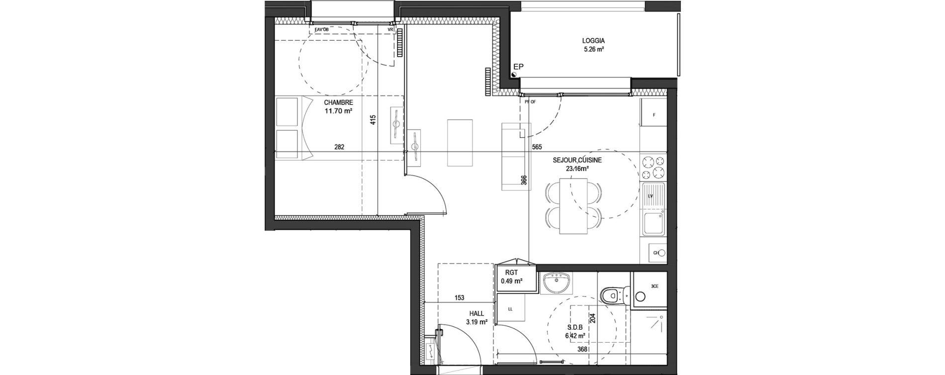 Appartement T2 de 44,96 m2 à Marquette-Lez-Lille Centre