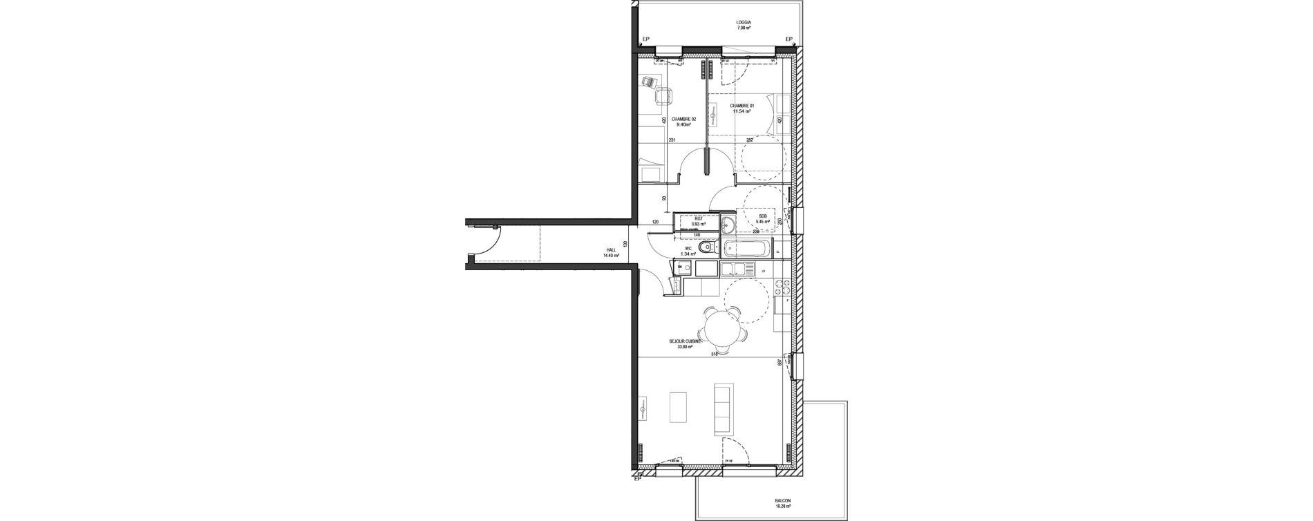 Appartement T3 de 76,06 m2 à Marquette-Lez-Lille Centre