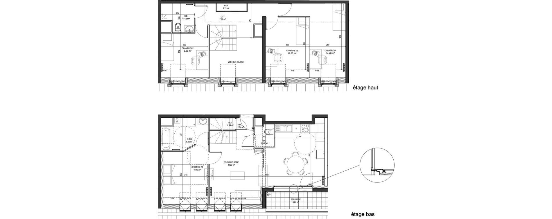 Duplex T5 de 102,57 m2 à Marquette-Lez-Lille Centre