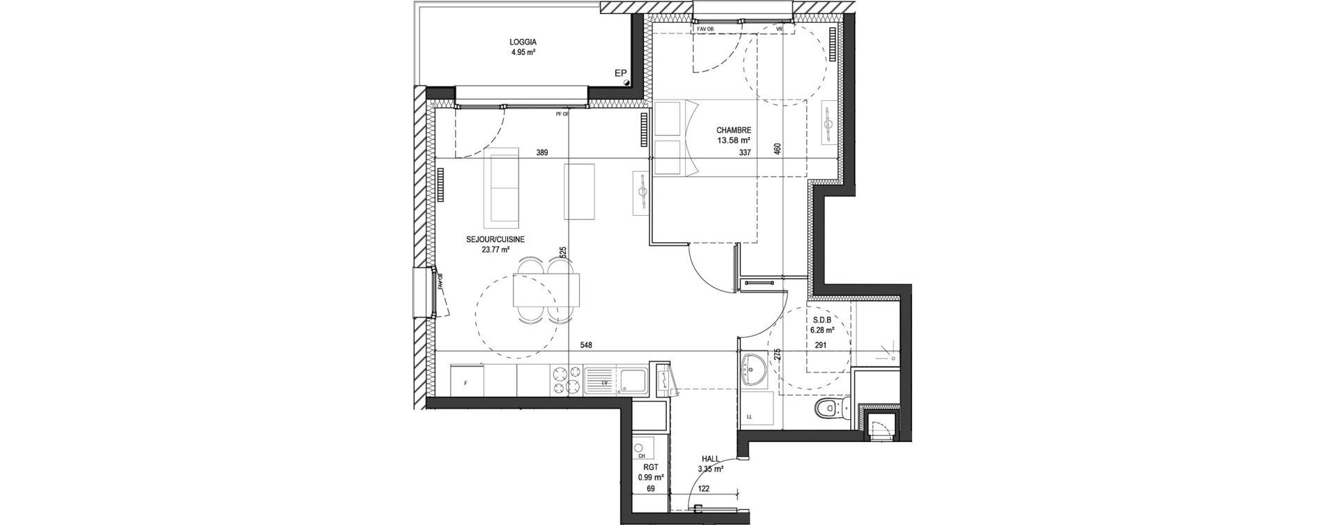 Appartement T2 de 47,97 m2 à Marquette-Lez-Lille Centre