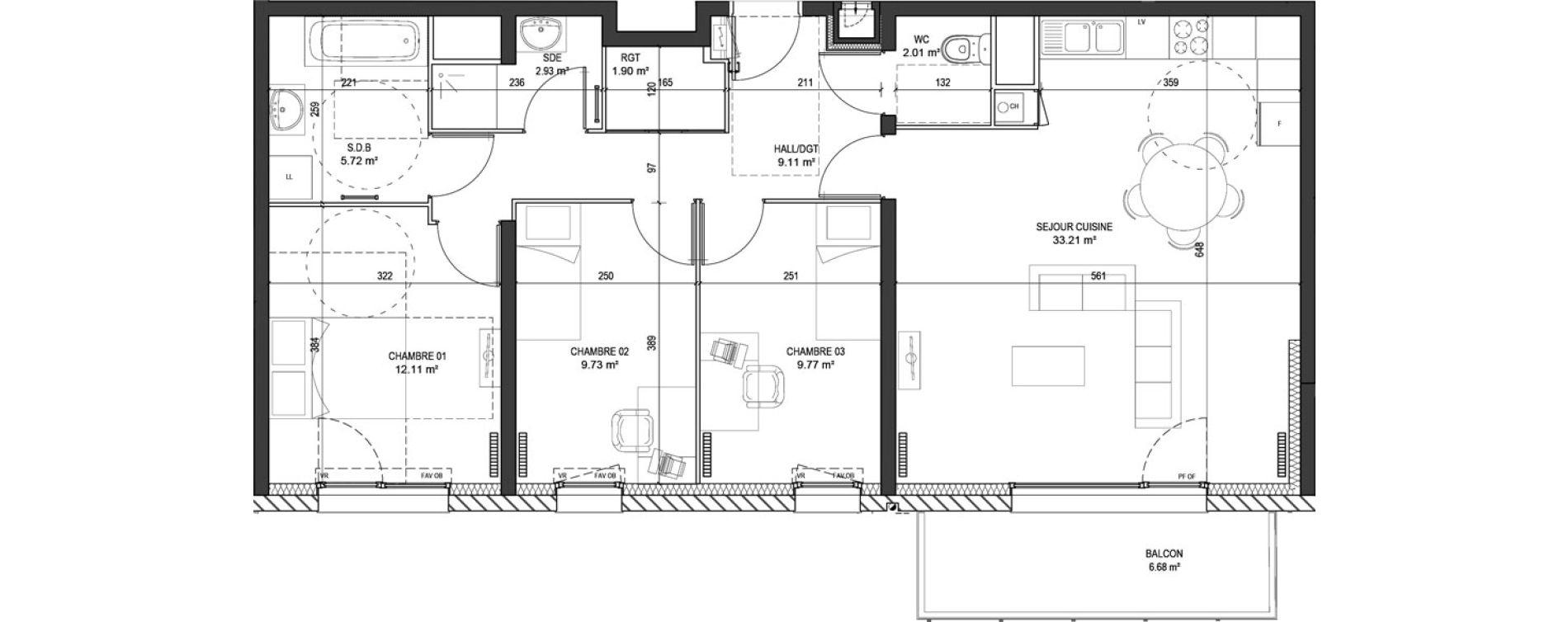 Appartement T4 de 86,49 m2 à Marquette-Lez-Lille Centre