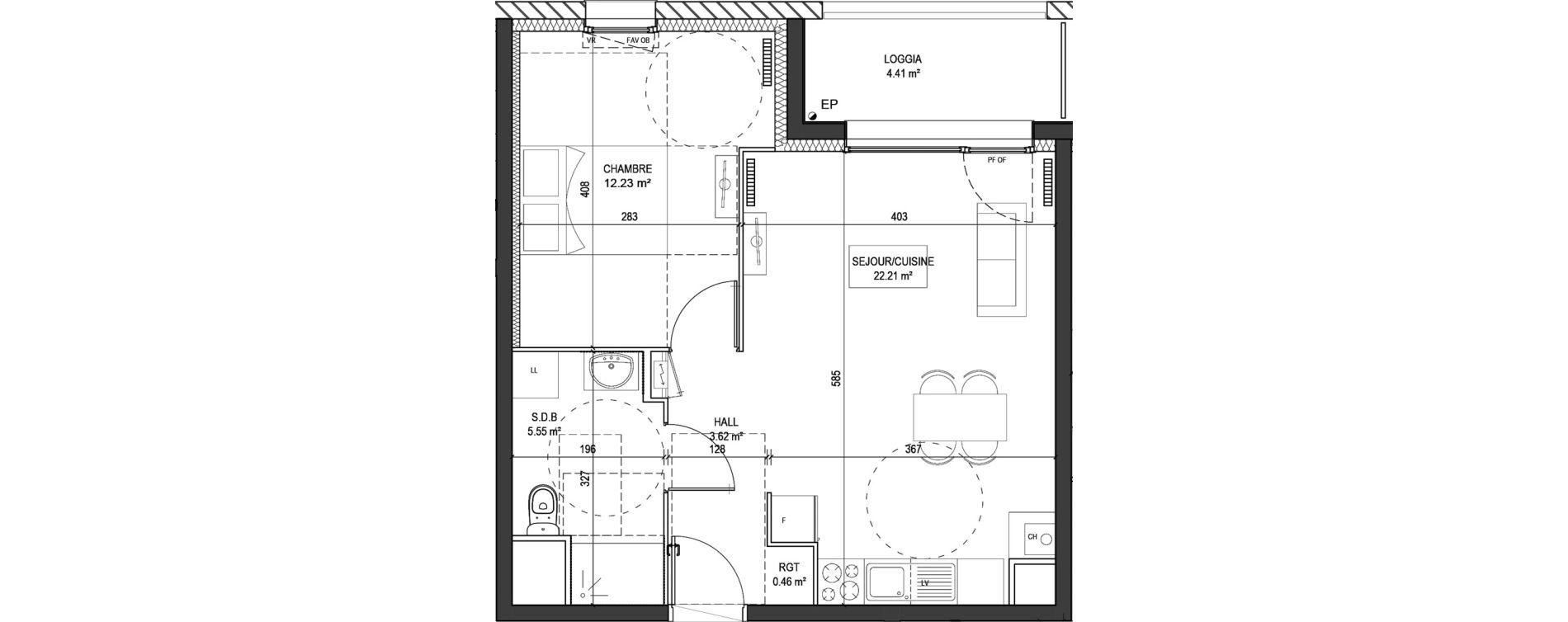 Appartement T2 de 44,07 m2 à Marquette-Lez-Lille Centre