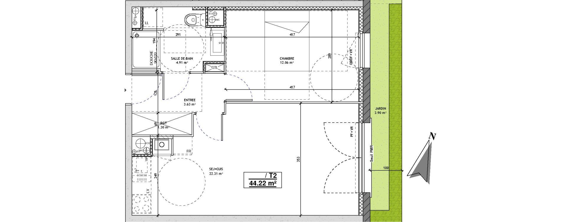 Appartement T2 de 44,22 m2 à Mons-En-Barœul Centre