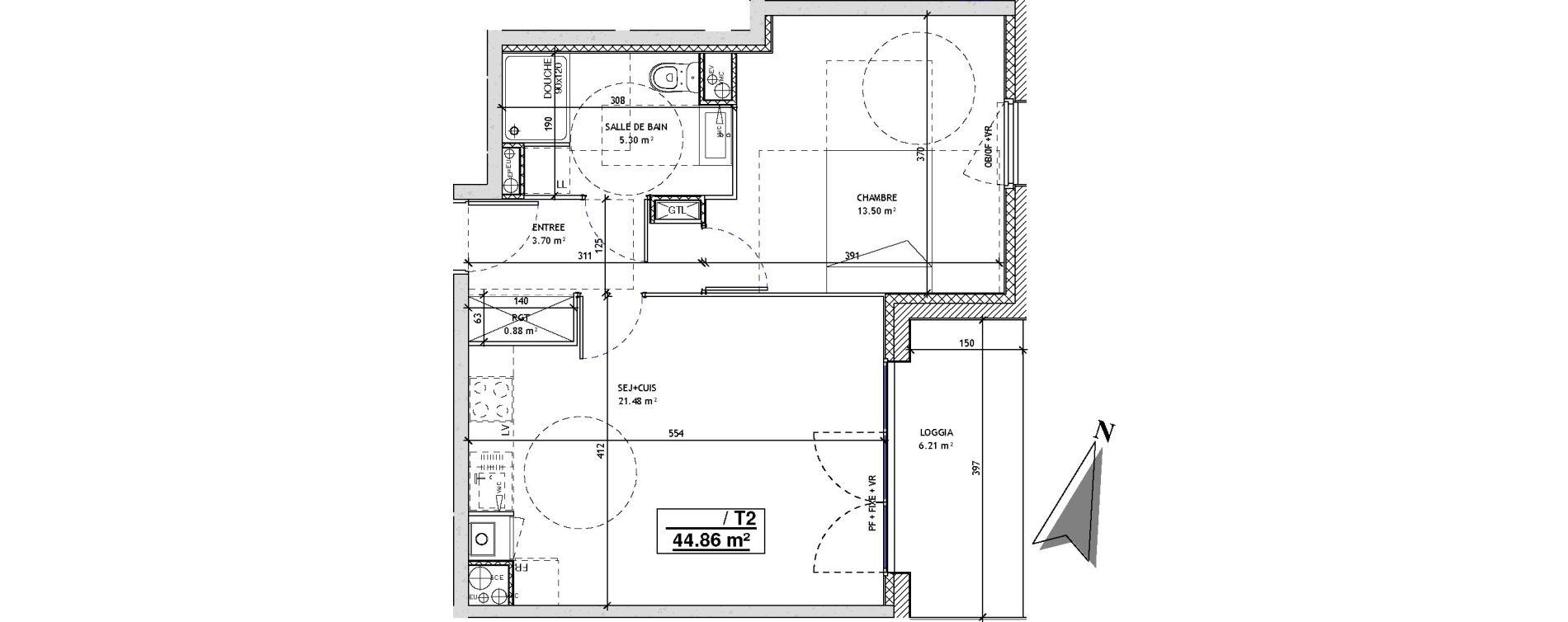 Appartement T2 de 44,86 m2 à Mons-En-Barœul Centre