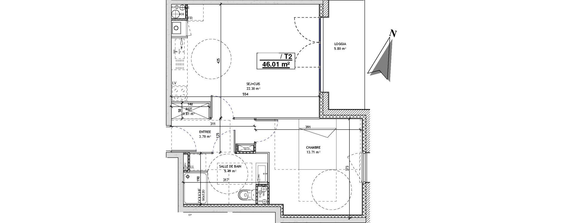 Appartement T2 de 46,01 m2 à Mons-En-Barœul Centre