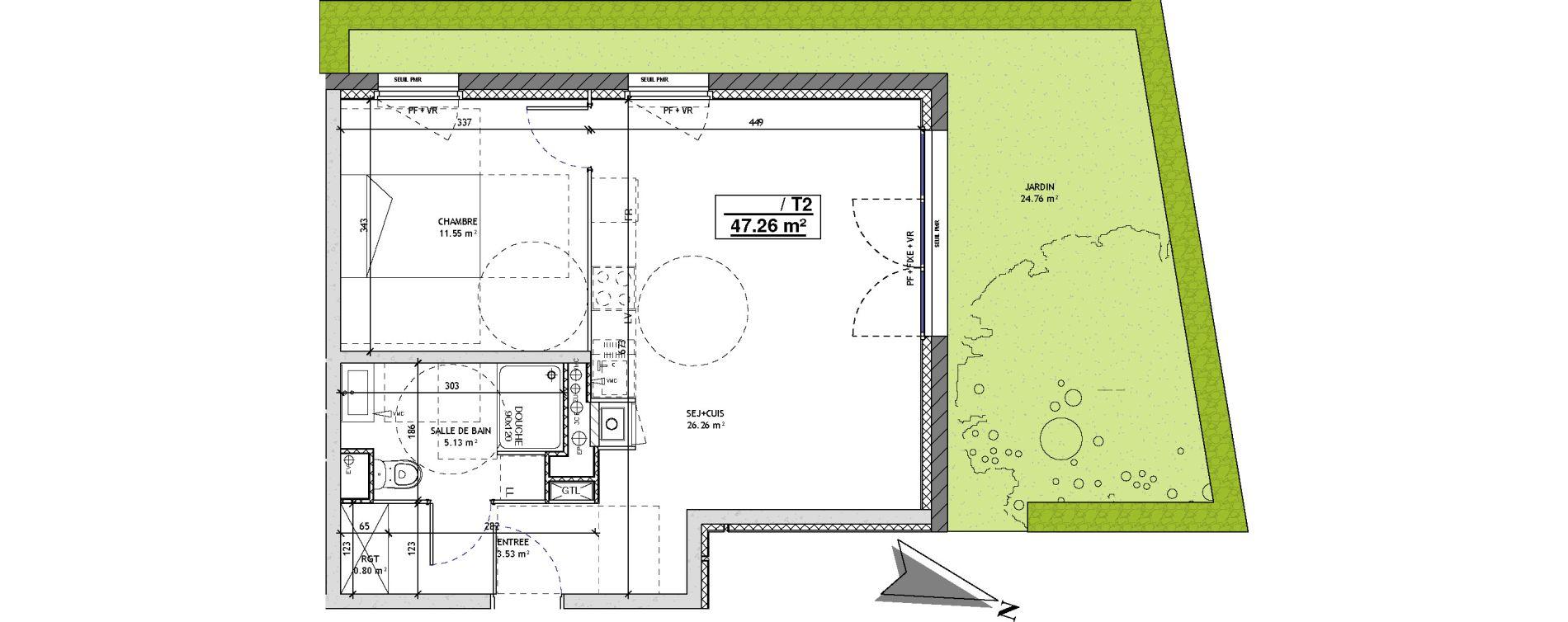 Appartement T2 de 47,26 m2 à Mons-En-Barœul Centre
