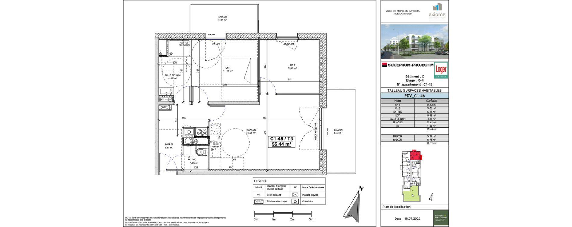 Appartement T3 de 56,57 m2 à Mons-En-Barœul Centre