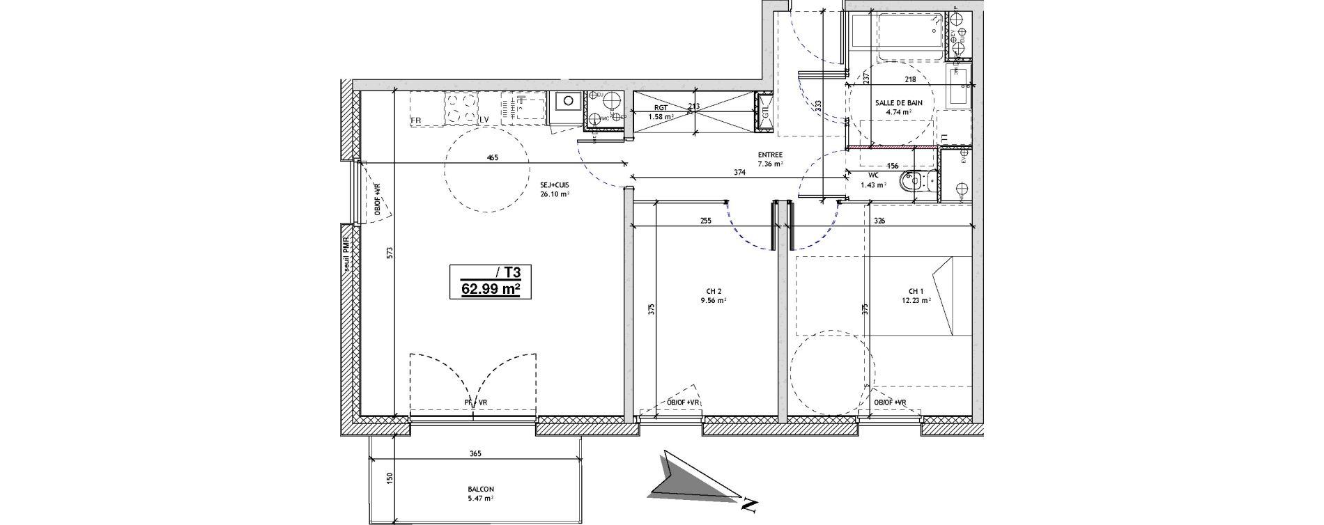 Appartement T3 de 62,99 m2 à Mons-En-Barœul Centre