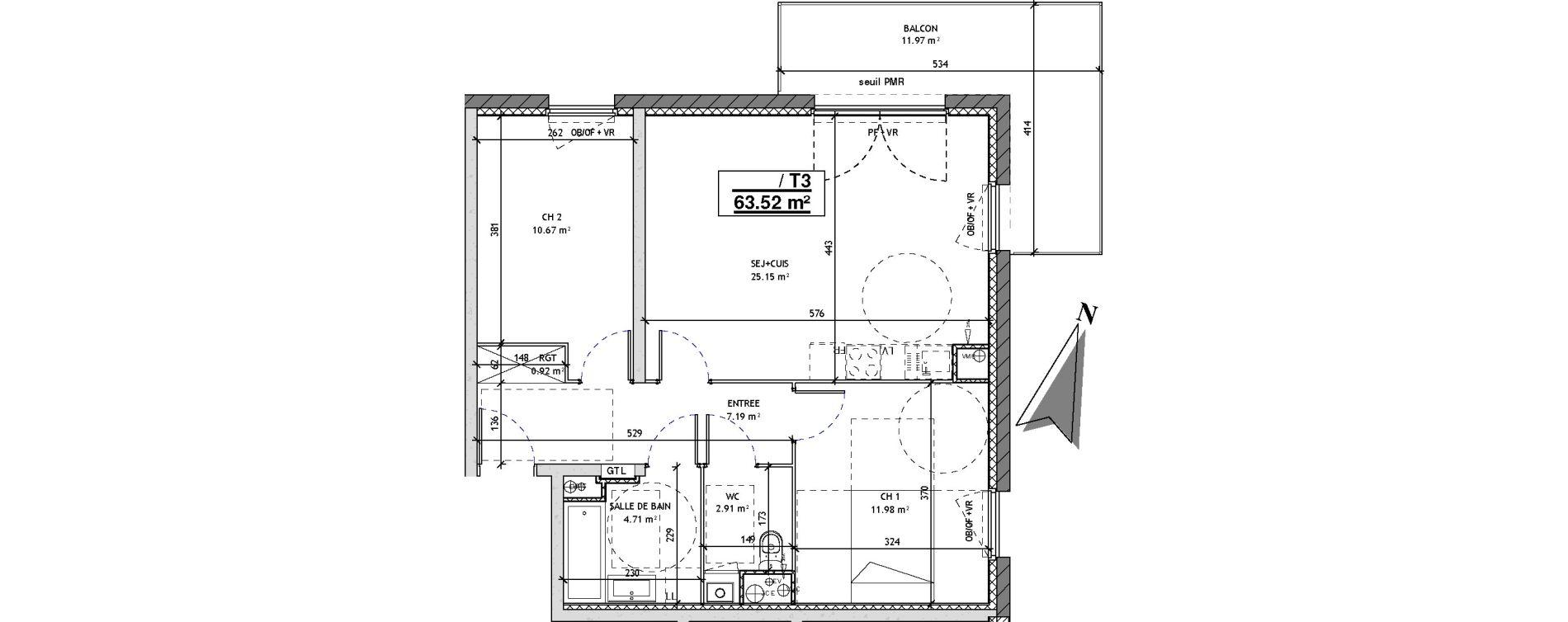 Appartement T3 de 63,52 m2 à Mons-En-Barœul Centre