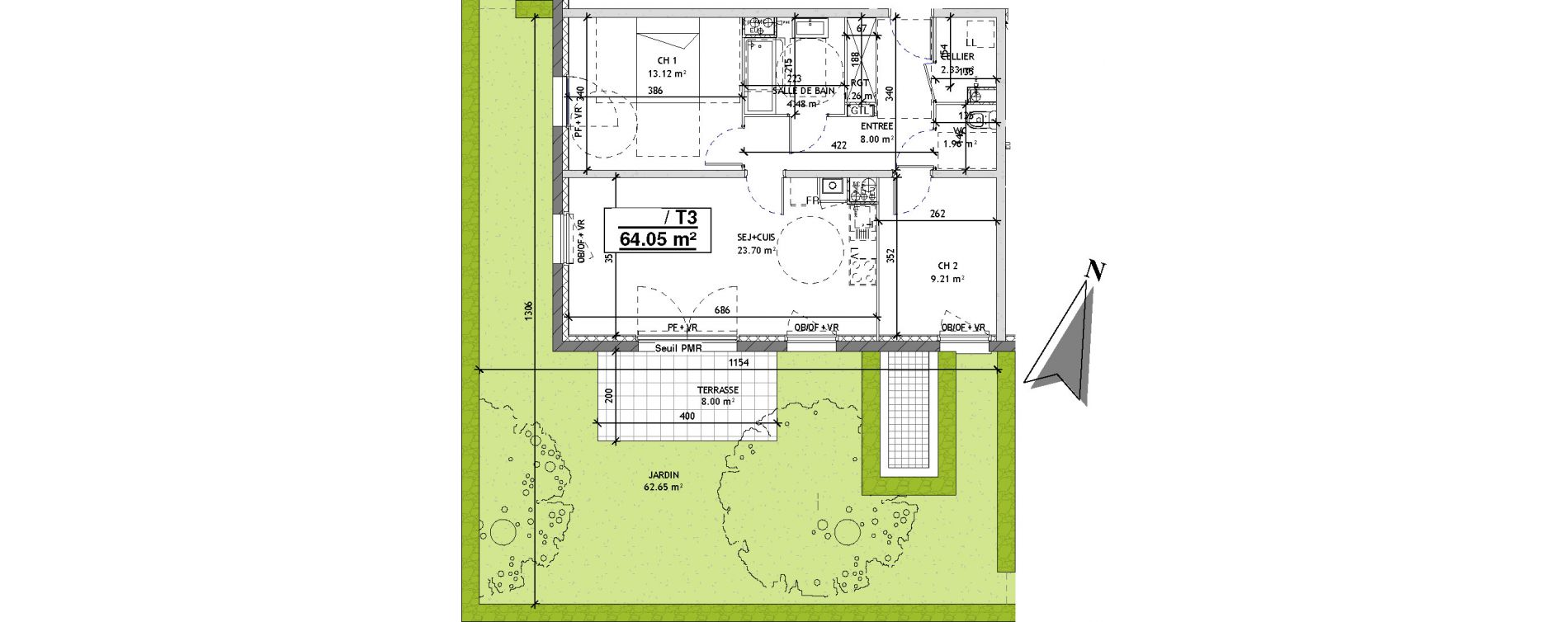 Appartement T3 de 64,05 m2 à Mons-En-Barœul Centre