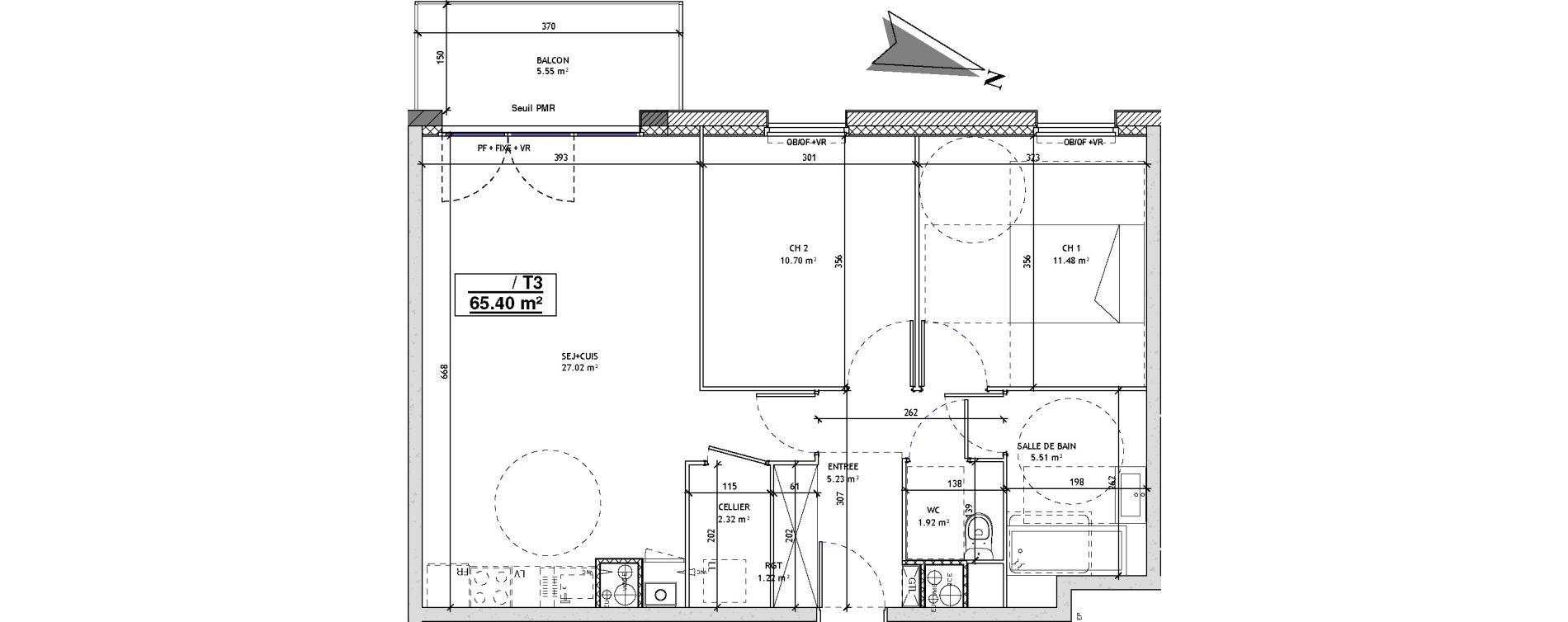 Appartement T3 de 65,40 m2 à Mons-En-Barœul Centre