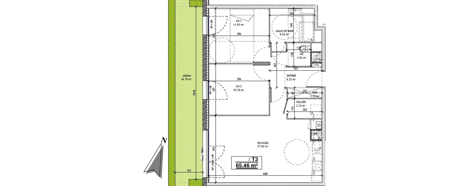 Appartement T3 de 65,46 m2 à Mons-En-Barœul Centre