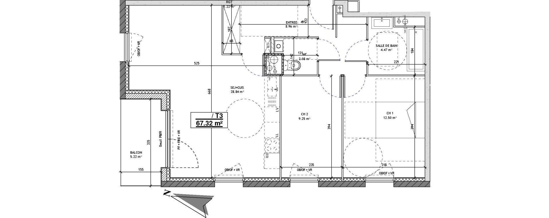 Appartement T3 de 67,32 m2 à Mons-En-Barœul Centre