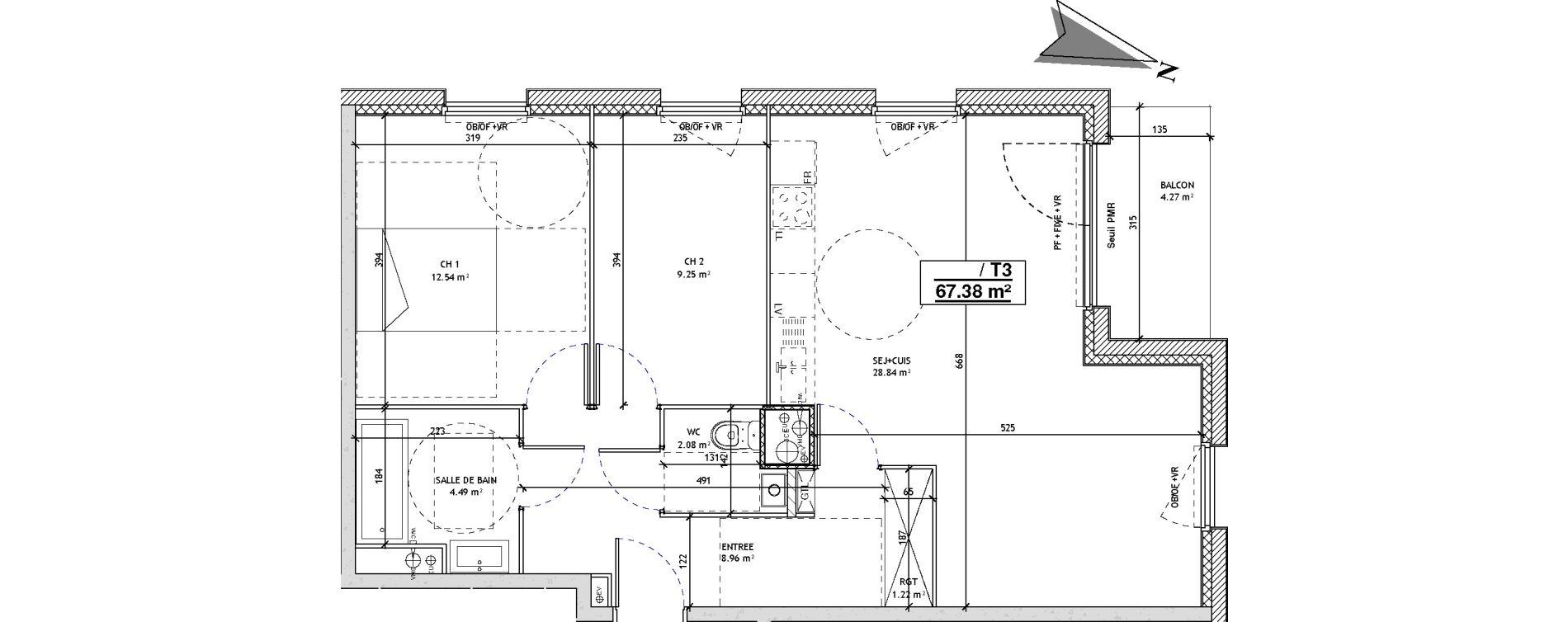 Appartement T3 de 67,38 m2 à Mons-En-Barœul Centre