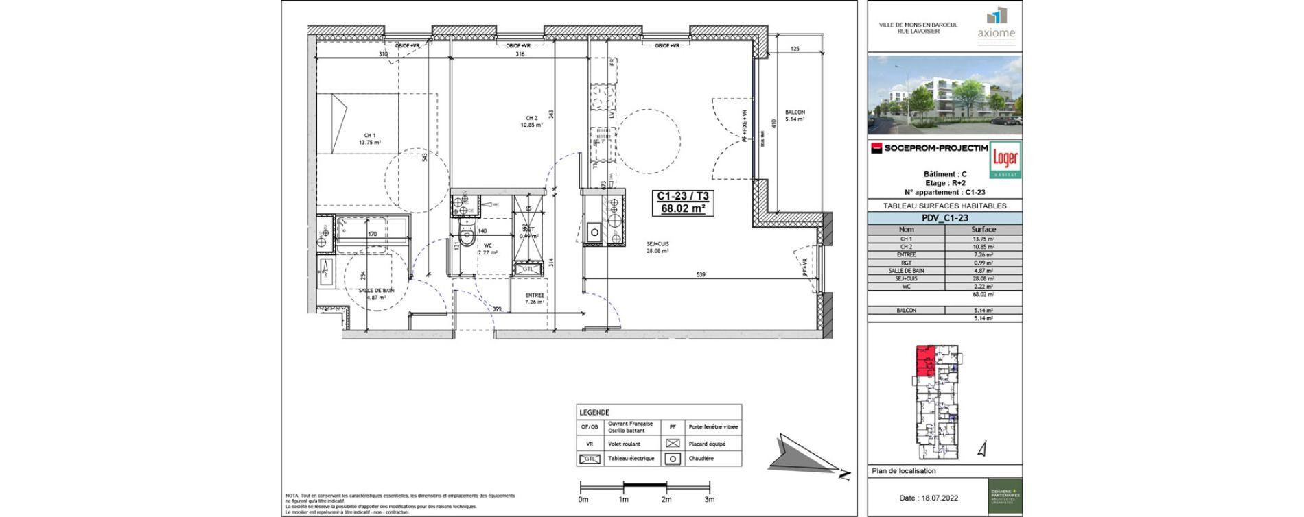 Appartement T3 de 68,02 m2 à Mons-En-Barœul Centre