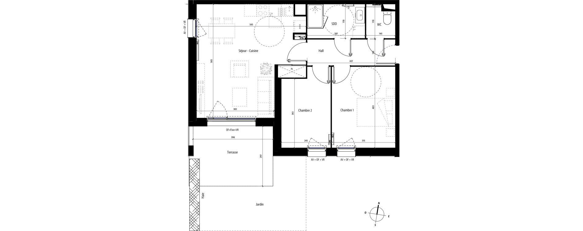 Appartement T3 de 61,40 m2 à Mons-En-Barœul Centre