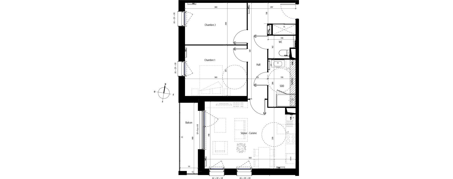 Appartement T3 de 62,40 m2 à Mons-En-Barœul Centre