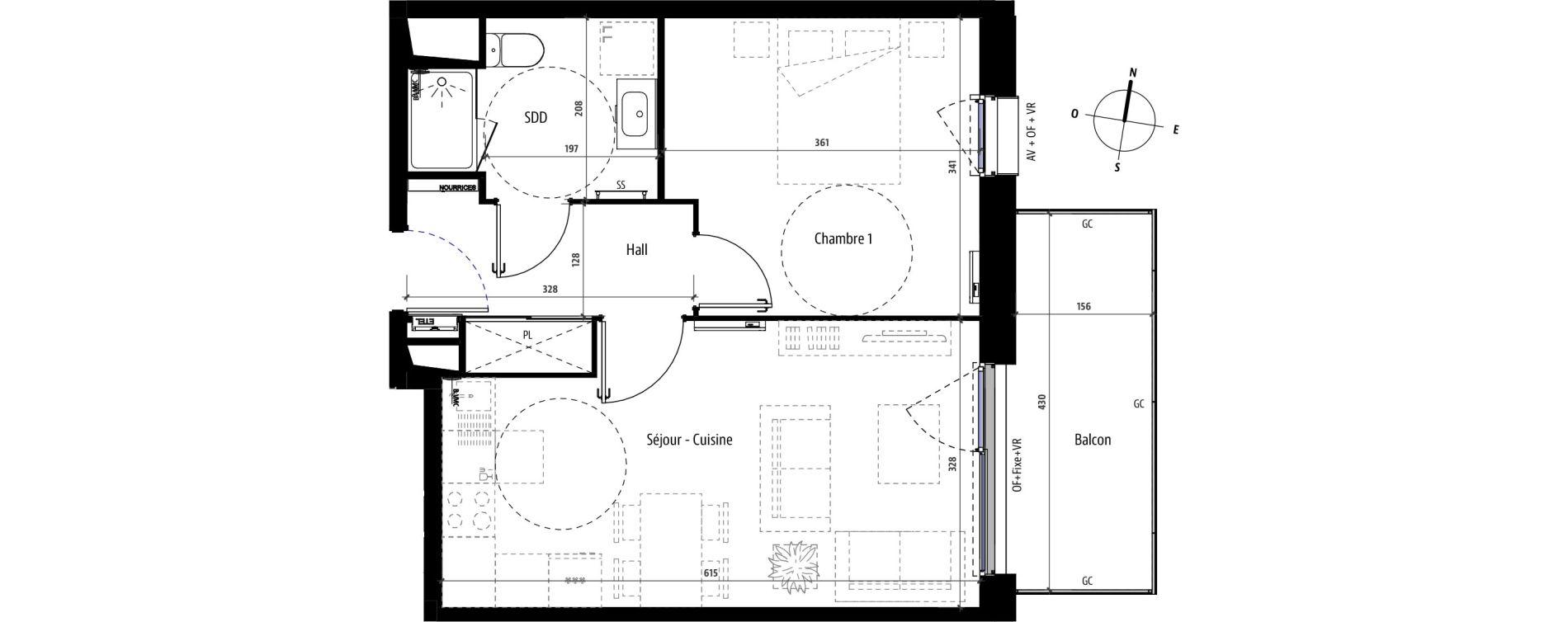 Appartement T2 de 41,40 m2 à Mons-En-Barœul Centre