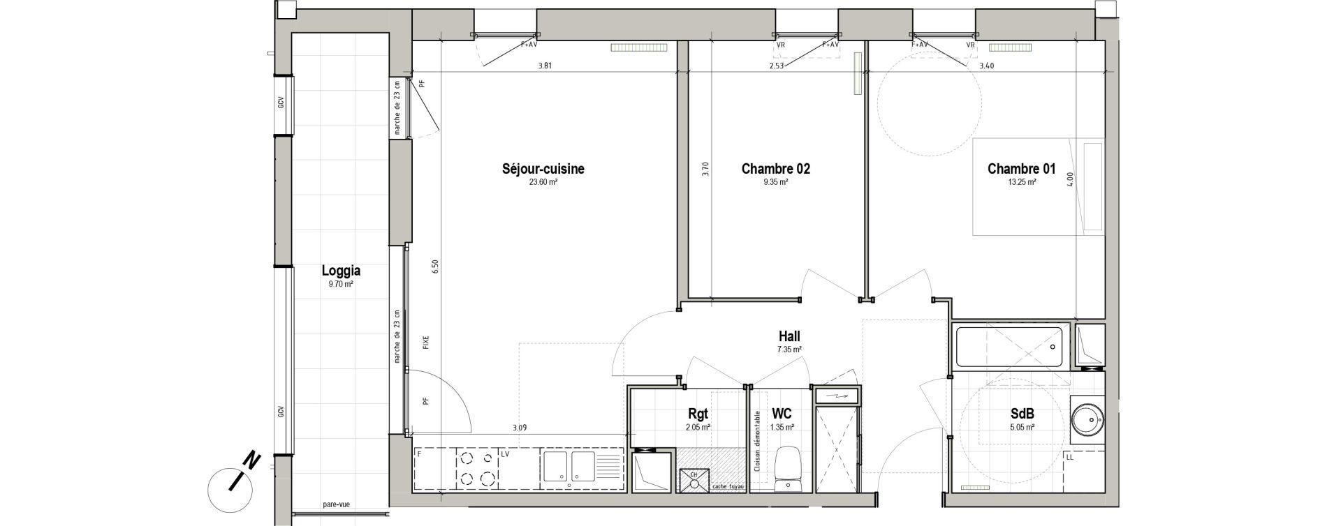 Appartement T3 de 62,00 m2 à Pérenchies Centre