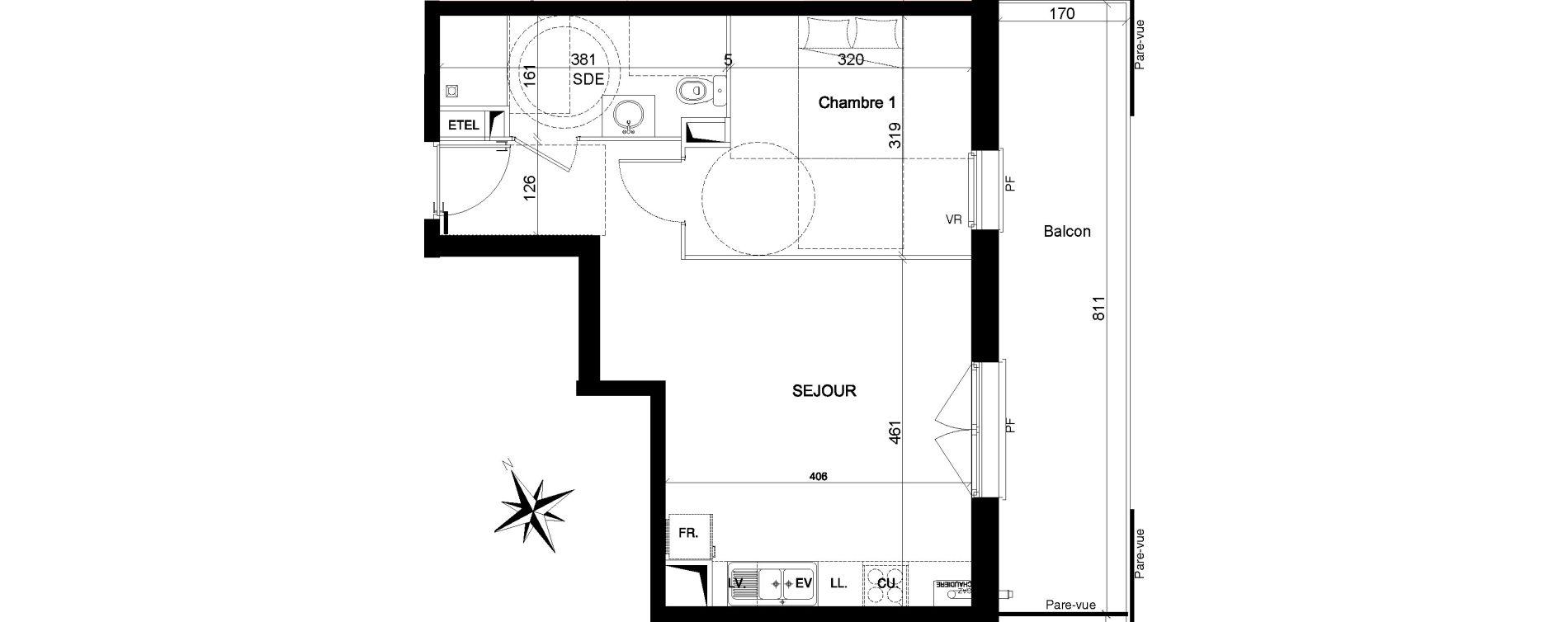 Appartement T2 de 40,82 m2 à Quesnoy-Sur-Deûle Centre