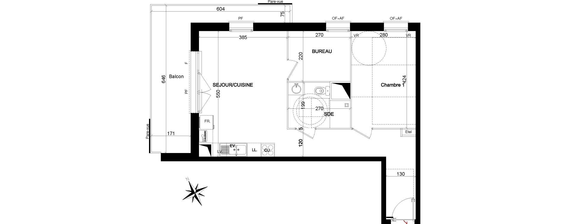 Appartement T2 de 53,48 m2 à Quesnoy-Sur-Deûle Centre