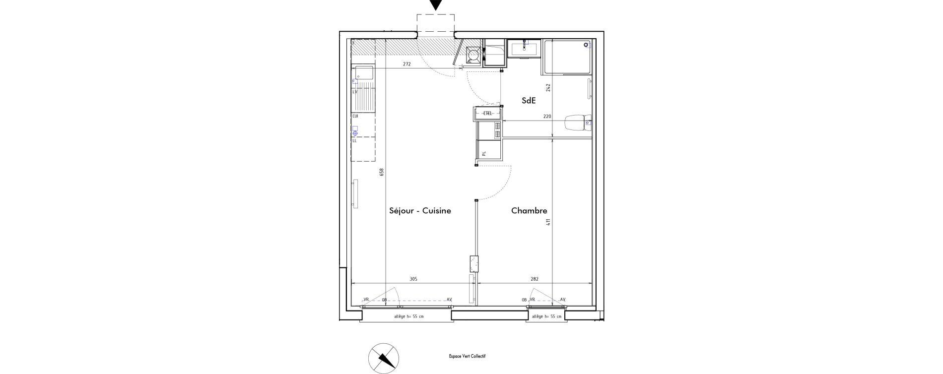 Appartement T2 de 37,60 m2 à Roncq Blanc four